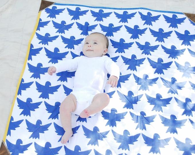 Organic Cotton Playmat Quilt, Quilted Playmat, Canvas Play Mat, Tummy Time Quilt, Indigo Birds