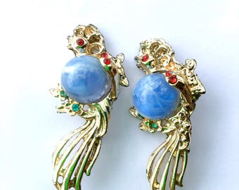 Double Jelly Belly Bird Brooch with Rhinestones Lucite Figural Fun Fashion Scatter Pins Jewelry