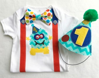 Boys Party Monster First Birthday Baby Boy Outfit. Bodysuit and Party Hat 1st birthday