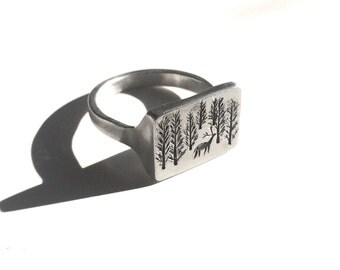 Signet Ring / Woodscape / Sterling Silver