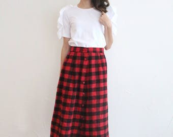 vintage red black buffalo check plaid highwaisted skirt