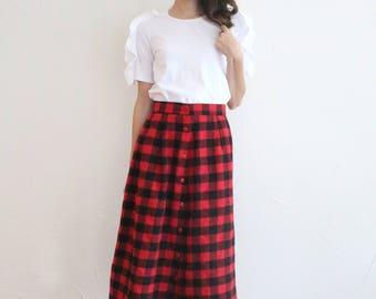 vintage red black buffalo check plaid highwaisted skirt