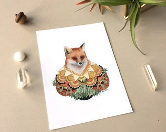Collector: Fox // 5x7 Art Print // Woodland Illustration