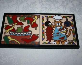 "Vintage Tile Trivet Metal Frame Earthtones Brand "" Feline Chef "" and "" Chilies "" Southwestern Cat Cook Chef Retro Kitsch"