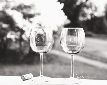 Wine Glasses Photograph- Black and White Print, Wine Photography, Kitchen/Dining Decor, Modern Bar Decor, Glassware Photo, Bar Wall Art