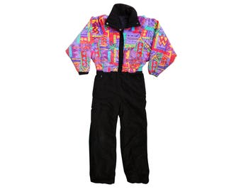Rainbow 80s Floral Explosion One Piece Cotton Ski Suit - M