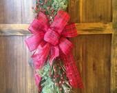Christmas Swag Wreath / Large Plaid Bow