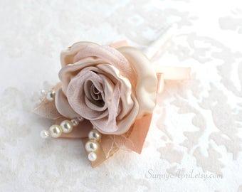 Champagne Blush Rose Boutonniere/ Handmade Wedding Accessory