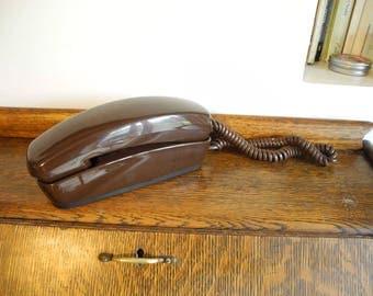Dark Rich Brown TrimLine Sears Push button Telephone Brown Retro Telephone Working Retro Trimline Style Phone Wall Desktop Telephone WORKS
