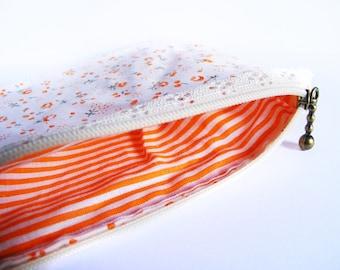 Orange flowers zipper pouch - stripes lining - cotton bag