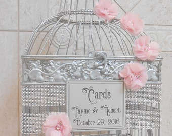 Large Pink and Silver Bling Wedding Birdcage Card Holder / Wedding Card Box / Wedding Card Holder / Bling Wedding Decor / Custom Card Box