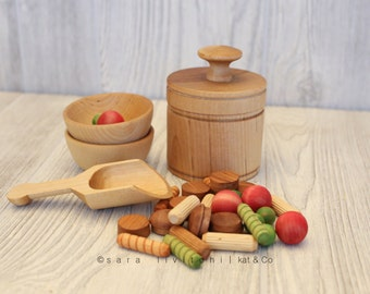Guaranteed Christmas Delivery! Pasta in a bag set.  Play kitchen wooden food.