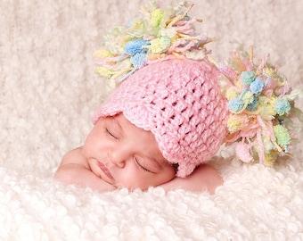 Spring  Baby Girl Hat - Baby Hat - Newborn Baby Pom Pom Hat - Girly Pink with Pastel Textured Pom Pom's