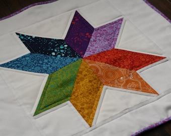 Doll Quilt Mini Quilt Rainbow Star