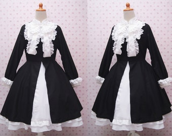Elegant Black and White Long Sleeve Classy Victorian Formal Dress - Handmade Black Classic Lolita Dress - Custom In Your Size & Color