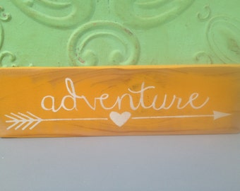 Distressed Yellow and White Adventure Sign, Gallery Wall Sign Decor, Wooden Wall Sign