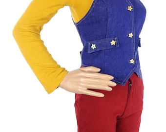 Cute Vintage 70s Denim Waistcoat With Glitter Star Buttons