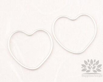 A348-02-MR// Matt Original Rhodium Plated Heart Link, 4pcs