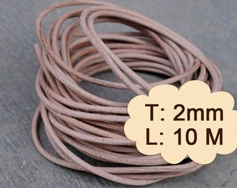 10 Meter (1000cm, 10.93 Yard, 393.70 inch or 32.8Ft) X 2.0 mm Thick - Natural Round Leather- R101 (Lead-free: SGS testing)