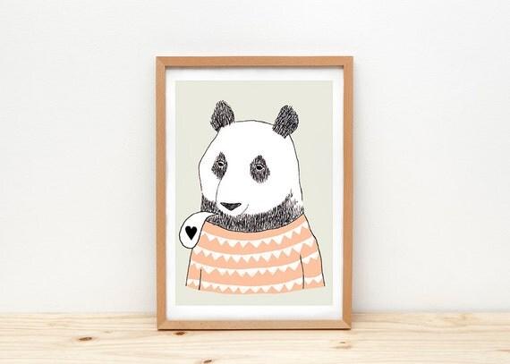 Bear art print, illustration by depeapa, panda bear, bear wall art, A4, panda poster, modern nursery art, wall decor, kids room decor, love