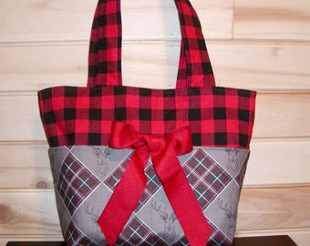 READY To Ship Only..Deer N Plaid..Diaper bag, handbag, purse, book bag. Size is 9x10 Inches