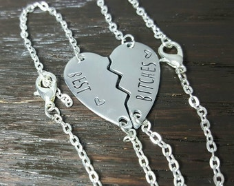 Best B*tches Hand Stamped Broken Heart Bracelet Set, BFF Gifts, Christmas or holiday gift by Miss Ashley Jewelry