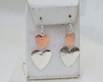 Hammered sterling silver and copper heart earrings