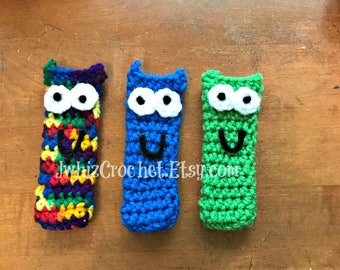Crochet Popsicle Holder, Monsters, Minnie Mouse, Mickey Mouse, Elmo, Shark, Mermaid, Light Saber, Yoda, Sword, Cookie Monster, Grover