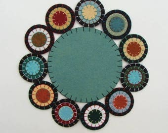 Candle Mat Wool Felt Blend, Handmade, Finished Ready To Ship Blue Spruce