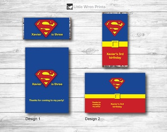 Superman Party, Superhero Party, Superman birthday, superhero Wrapper, superman Invitation, Party Favor, superman chocolate wrapper