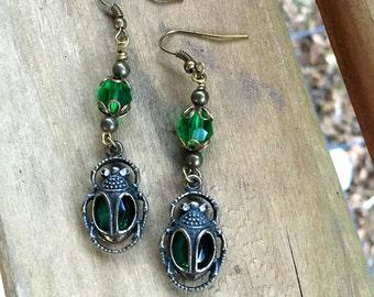 Scarab Earrings Olivetine Gem Earrings Beetle Earrings Dangle Earrings   Item 759