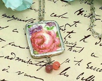 Broken China Pendant   Pink  Floral Pendant    Boho Chic Pendant  Mothers Day Gift     item 2307