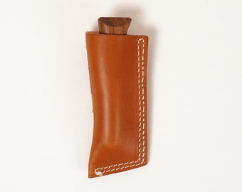 Folding pocket knife and tan leather holster | WHISKEY