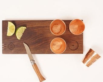 Wooden shot board with copper glasses | Son of a Sailor + Sertodo Copper Collaboration