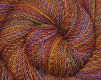 Handspun yarn - Hand painted Blue Faced Leicester (BFL) wool, light worsted weight, 270 yards - Sunset Memories 1