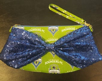 Logo Bow Clutch Wristlet - Seattle Sounders FC Body with Sequin Bow, Chevron Body with Recycled Denim Bow, Brass Zipper