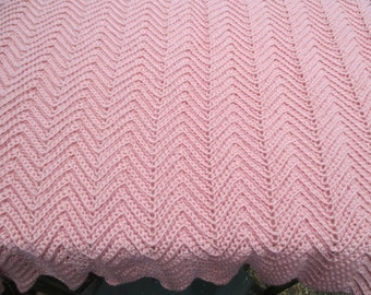 "Crochet Ripple Baby Blanket Pink Rose  32"" x 36"" - Infant Afghan"