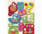 SALE Rare Vintage Hallmark Snoopy Sticker Sheet - 80's Woodstock Peanuts Carnival Balloon Roller Coaster Cartoon Illustration Scrapbook