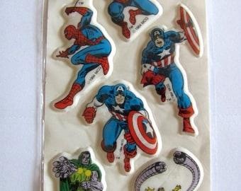 SALE Rare Vintage Marvel Comics Superheroes Puffy Sticker Sheet - Spiderman Captain America Octopi Doctor Doom Retro Comic Cartoon