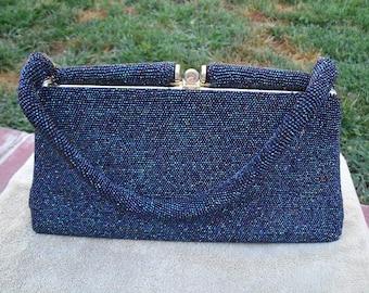 Vintage Blue Beaded Evening Bag - Large Iridescent Glass Beaded Handbag