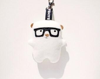 Little Bambak Polar Bear, brown bear, woodland animal, geek toy, key chain, best friend, kids gift, soft toy, glasses, kawaii plushie