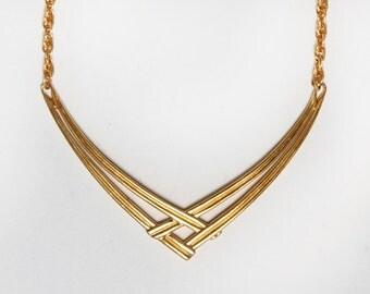 80s Monet Necklace. Gold Tone Signed Costume Jewelry Bib Necklace. Statement Necklace. Art Deco Gold Necklace. Vintage Choker Chain Necklace