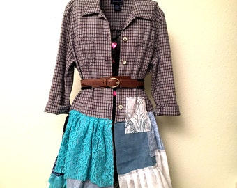 Recycled cotton  shirt size M- L  dress  Patchwork Dress Boho Gypsy Style  dress  Recycled shirt tunic