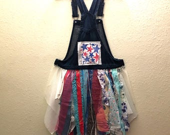 Recycled denim overalls  shirts tunic jumper Patriotic USA funky  tunic patchwork cotton floral dress  Upcycled clothing