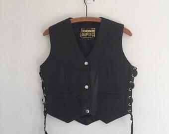 Vintage 70's Black Leather Vest / Hudson Leather Lace Up Vest XS