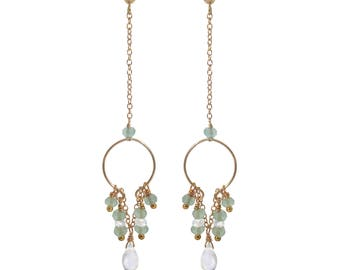 Naiad Moonstone & Aqua Chalcedony Earrings