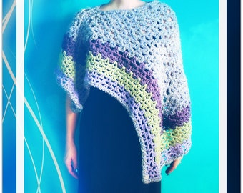 Crochet Poncho,Knit Poncho,Handmade Pullover,Shawl,Wrap,Cape,Capelet,Chunky Knit,Asymmetrical,Gypsy Clothing,Hippie Clothes,Purple,Green
