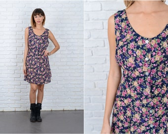 Vintage 90s Mini Dress Floral Grunge Leaf Black Pink Large L 8887