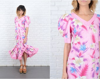 Vintage 80s Pink Retro Dress Puff Sleeve Floral Leaf Print Midi Small S 9210