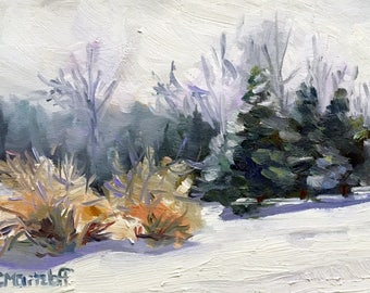 A Winter Sketch Small Original,Impressionist Oil Painting on Canvas